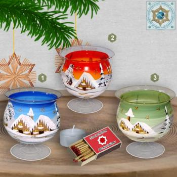 Christmas decoration windlight for Christmas on stand foot motif winter village green, blue, or red, series Lauscha Christmas