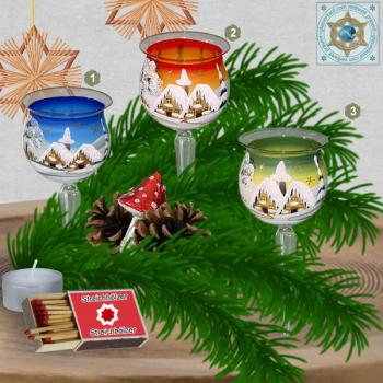 Christmas decoration windlight for Christmas plug 4-pc. motif winter village green, blue, or red, series Lauscha Christmas