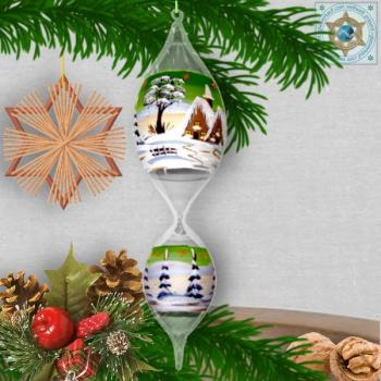 Christmas decoration glass ball glass olive motif winter village green, blue, or red, series Lauscha Christmas