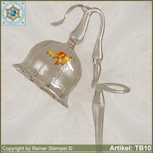Flowers rod, orchids rod, flower holder made of glass with poppy