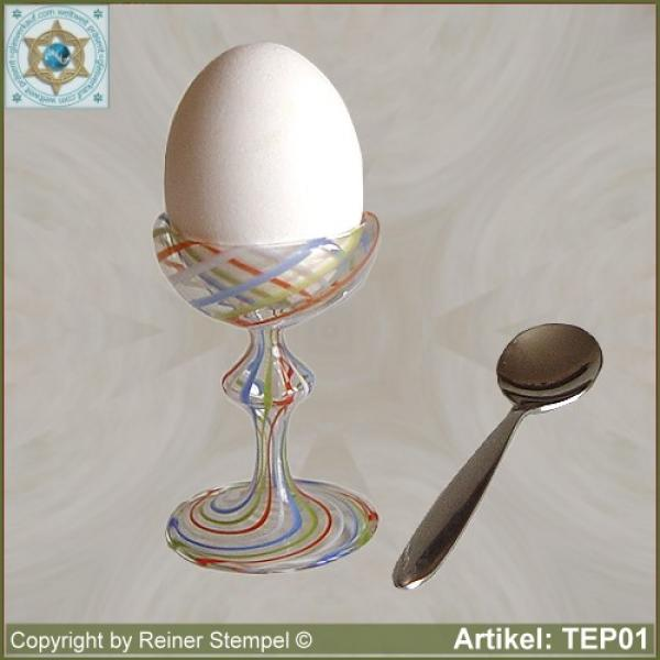 Egg cup from crystal clear colorful striped glass