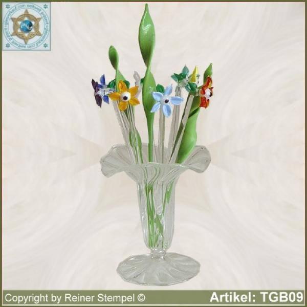 Glass flowers mix of colorful flowers set 12-pc.