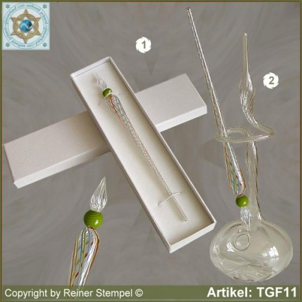 Glass pens, from strip glass, crystal clear colored with pearl green