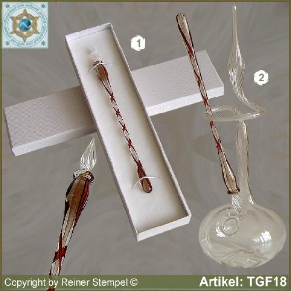 Glass pens from solid glass crystal reed brown