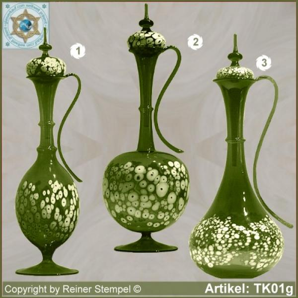 Carafe with lid green in 3 variants with white glass granules as pattern