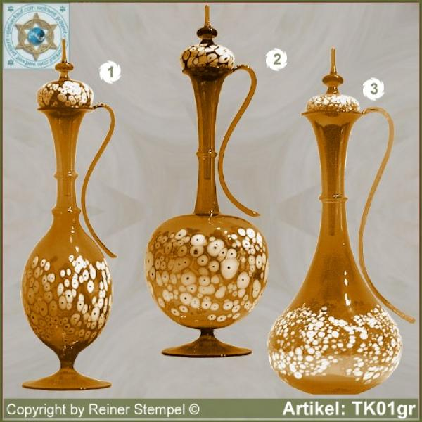 Carafe with lid amber in 3 variants with white glass granules as pattern