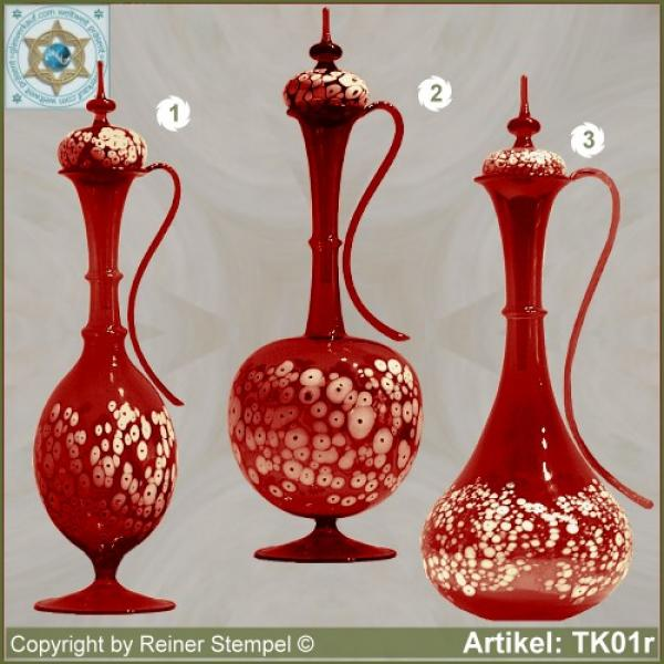 Carafe with lid red in 3 variants with white glass granules as pattern