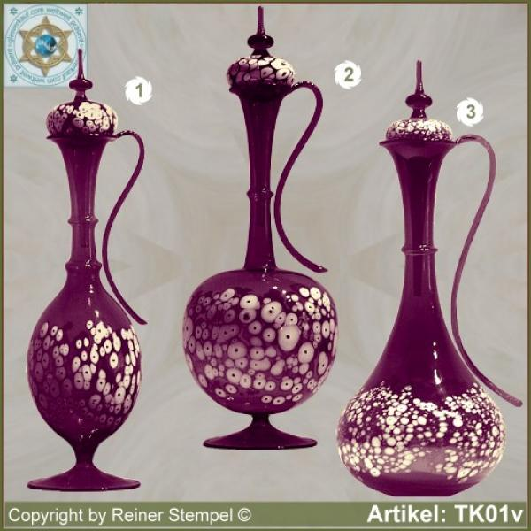 Carafe with lid violet in 3 variants with white glass granules as pattern