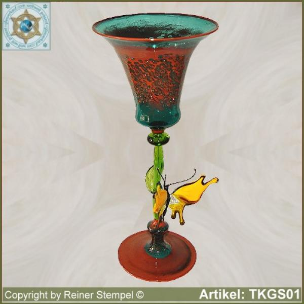 Decorative chalice glass with butterfly