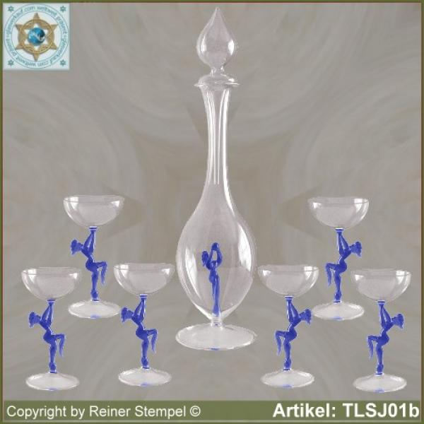 Carafe, liqueur glass in Art Nouveau style with blue dancer