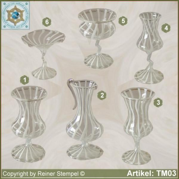 Glass vases, glass bowls miniatures stripe glass white