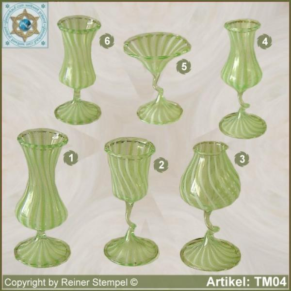 Glass vases, glass bowls miniatures stripe glass green