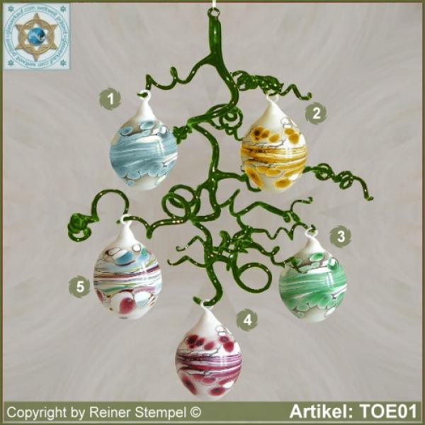 Glass decoration Easter eggs for Easter white-colored