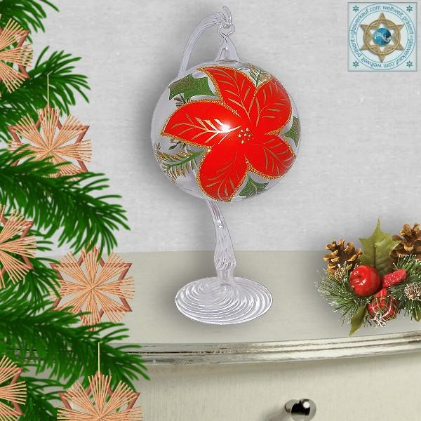 Christmas decoration glass ball on stand with motif Christmas star series Christmas star
