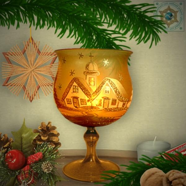 Christmas decoration windlight for Christmas, motif winter village gold, in 4 variants series gold magic