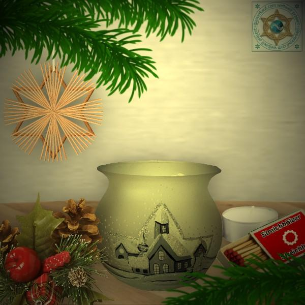 Christmas decoration windlight for Christmas, motif winter village silver, in 4 variants series frost