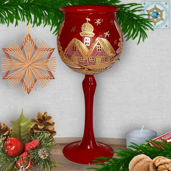 Christmas decoration windlight for Christmas, Christmas red motif winter village gold, in 4 variants series classik