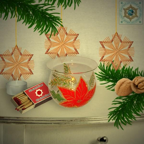 Christmas decoration windlight for Christmas, motif Christmas star in 4 variants series Christmas star