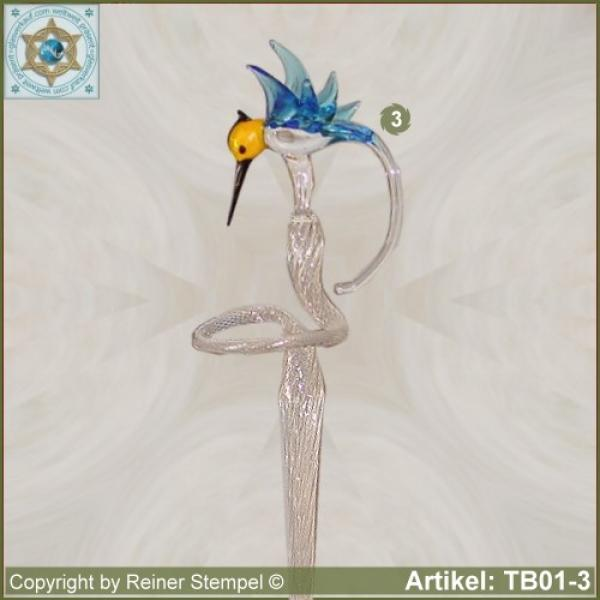 Flowers rod, orchids rod, flower holder made of glass with glass hamming-bird variant 3