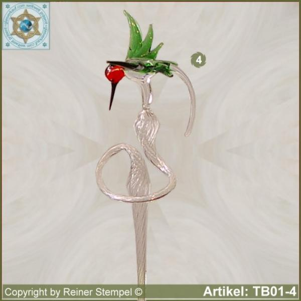 Flowers rod, orchids rod, flower holder made of glass with glass hamming-bird variant 4