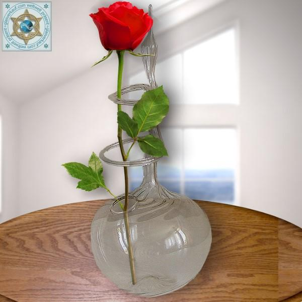 Rose vase from ribbed glass crystal clear