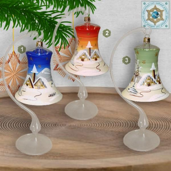 Christmas decoration glass bell on stand motif winter village green, blue, or red, series Lauscha Christmas