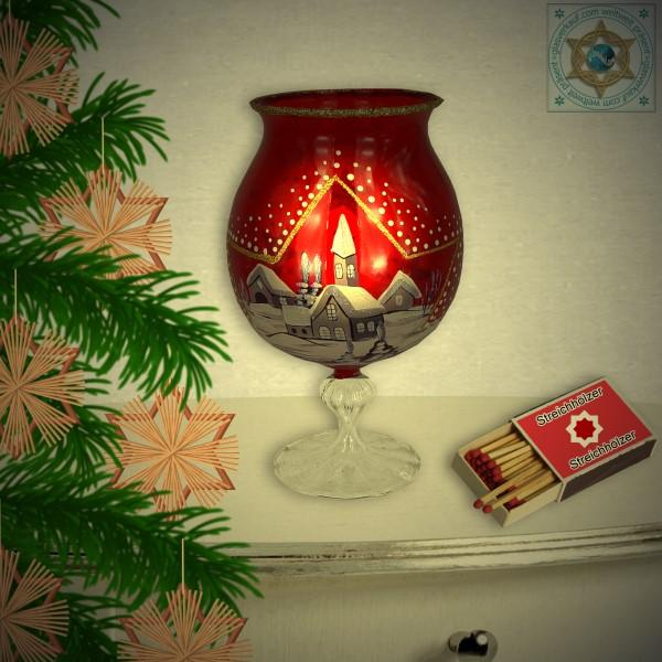 Christmas decoration windlight for Christmas with motif winter village red series Mountain Christmas