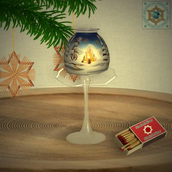 Christmas decoration windlight for Christmas with lampshade motif winter village green, blue, or red, series Lauscha Christmas