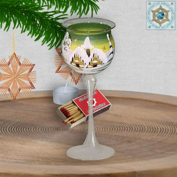 Christmas decoration windlight for Christmas on long stand foot motif winter village green, blue, or red, series Lauscha Christmas