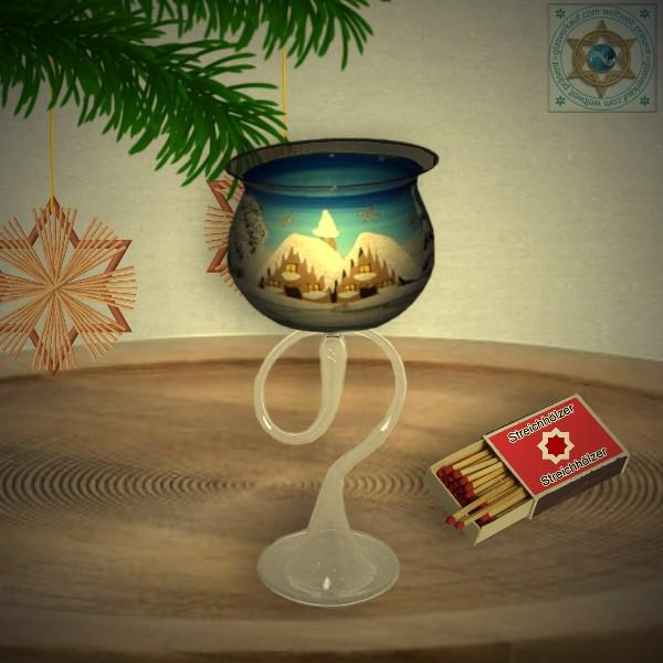 Christmas decoration windlight for Christmas on curved stand foot motif winter village green, blue, or red, series Lauscha Christmas