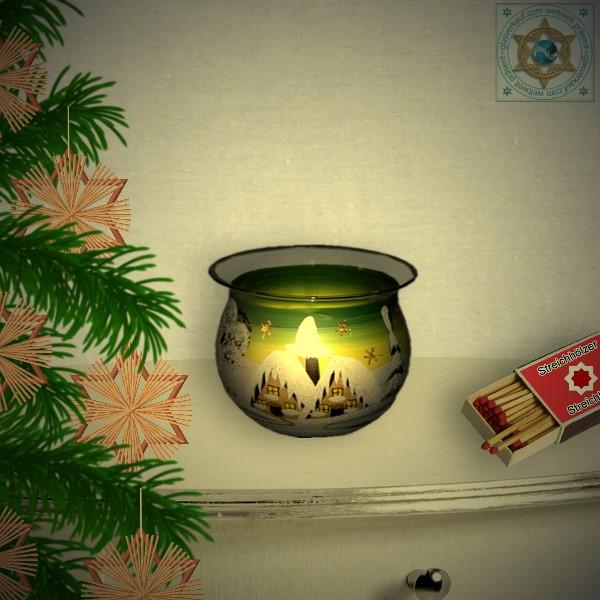 Christmas decoration windlight for Christmas bowl motif winter village green, blue, or red, series Lauscha Christmas