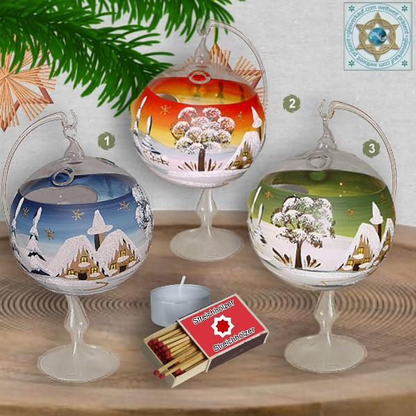 Christmas decoration windlight for Christmas glass ball on stand motif winter village green, blue, or red, series Lauscha Christmas