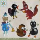 Glass animals glass figurines sandmann, magpie, duck, fox, goblin